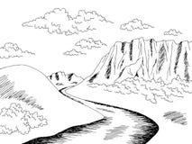 Free Plateau Tableland Mountain River Graphic Black White Landscape Sketch Illustration Vector Stock Photo - 181609700