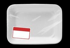 Plateau vide de nourriture avec l'étiquette photo stock