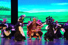 """Plateau Yak dance-Large scale scenarios show"""" The road legend"""". The drama about a Han Princess and king of Tibet Song Xan Gan Bbu and the story Stock Images"""