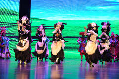 "Plateau Yak dance-Large scale scenarios show"" The road legend"". The drama about a Han Princess and king of Tibet Song Xan Gan Bbu and the story stock photos"