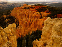 Plateaus and Valleys of Bryce Canyon. Bryce Canyon is not a canyon but many amphitheaters Royalty Free Stock Photo