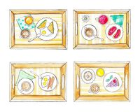 Plateaux avec le petit déjeuner illustration stock