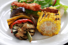 Plated barbecue meal Royalty Free Stock Image
