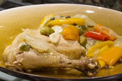 Plated Chicken Dinner. Oven baked chicken plated for dinner time Stock Photos