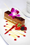 Plated chocolate mousse dessert Royalty Free Stock Images