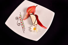 Plated dessert with poached pears in white porcelain plate Royalty Free Stock Photography
