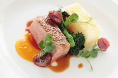 Plated duck breast Stock Image