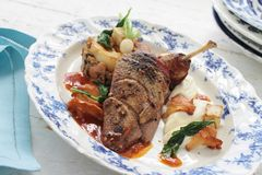 Plated duck main meal Royalty Free Stock Photography