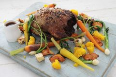 Plated duck main meal Royalty Free Stock Photos
