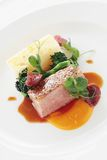 Plated duck main meal Royalty Free Stock Image
