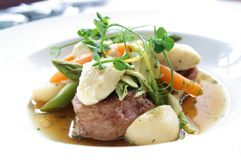 Plated lamb dinner Royalty Free Stock Images