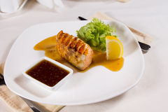 Plated Meal of Grilled Fish with Garnishes Royalty Free Stock Photography