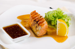 Plated Meal of Grilled Salmon with Sauce Royalty Free Stock Photos