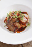 Plated pork main meal Royalty Free Stock Images