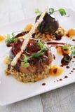 Plated pork main meal Stock Photo