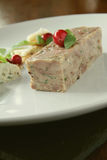 Plated pork terrine starter Royalty Free Stock Photos