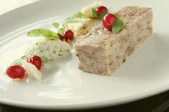 Plated pork terrine starter Stock Photos