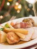 plated roast traditional trimmings turkey στοκ εικόνες με δικαίωμα ελεύθερης χρήσης