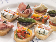 Plated Selection of Crostini Royalty Free Stock Photography