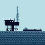 Plateforme pétrolière d'océan Photo libre de droits