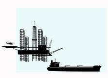Plateforme pétrolière extraterritoriale Photographie stock