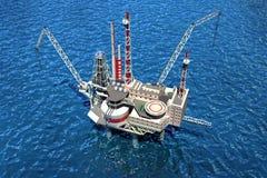 Plateforme pétrolière extraterritoriale dans l'océan. illustration stock