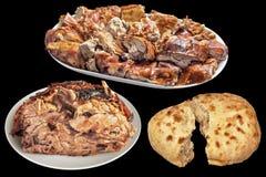 Plateful των γαστρονομικών ψημένων οβελός φετών κρέατος χοιρινού κρέατος και του Juicy ζαμπόν χοιριδίων με τη σχισμένη ψωμί φραντ Στοκ φωτογραφίες με δικαίωμα ελεύθερης χρήσης