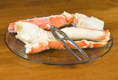 Plateful of Alaskan King Crab Legs Stock Photo