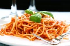 Plateful de espagueti Imagen de archivo libre de regalías