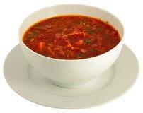 Plateful di borscht isolato su bianco Fotografie Stock