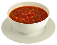 Plateful do borscht isolado no branco Fotos de Stock