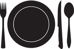 Plateful, fork, spoon and knife silhouette vector Stock Image