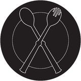Plateful, fork and spoon silhouette  Stock Photography