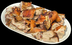 Plateful Of Gourmet Freshly Spit Roasted Pork Shoulder Slices Served On Oblong Porcelain Platter Isolated On Black Background Royalty Free Stock Photos