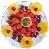 Plateful Of Orange And Strawberries Slices With Cherries Isolate Stock Image