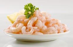 Plateful of shrimps stock photos