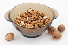 Plateful of walnuts Stock Photos
