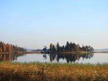 Plateliu lake, trees and beautiful sky, Lithuania stock photography
