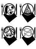 Platen met maaltijd royalty-vrije illustratie