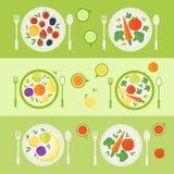 Platen met vruchten en groenten De tijd van de lunch Vector illustratie royalty-vrije illustratie