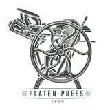 Platen press vector illustration. Old letterpress Stock Photos