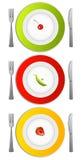 Platen van voedsel Stock Afbeeldingen