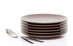 Platen, vork, lepel Royalty-vrije Stock Fotografie