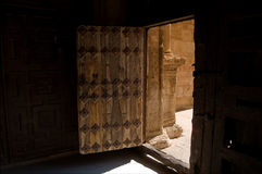 Plateresque Chuch entry. Wood door Stock Images