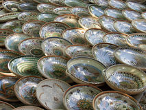 Plates. Numerous plates on a rural exhibition royalty free stock image