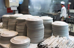 Plates. A stack of plates in a restaurant Stock Photography