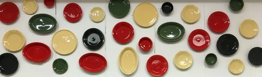 Plates and bowls array Stock Images