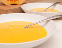 Plates of Butternut Squash Soup Stock Photos