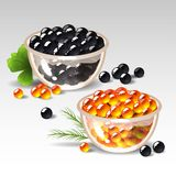 Plates with caviar Stock Photography