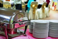 Plates and chafing royalty free stock photo